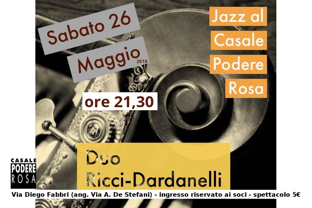 Podere al Jazz con il Duo Dardanelli Ricci sabato 26 maggio