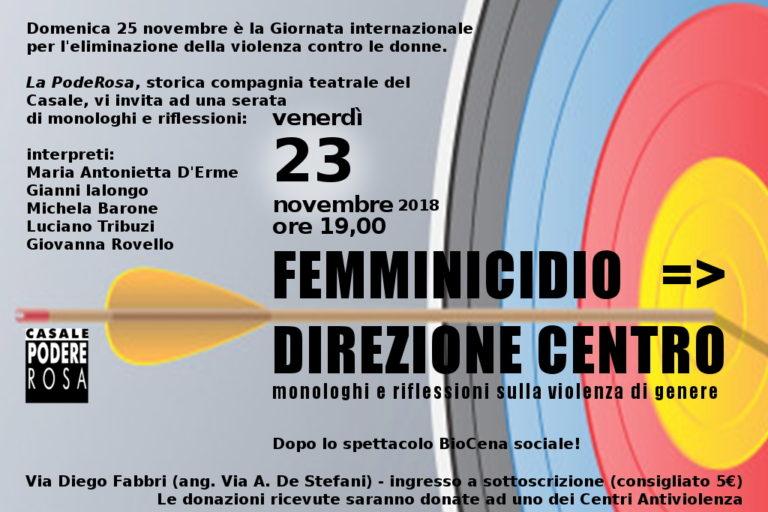 [Femminicidio => Direzione Centro, monologhi e riflessioni sulla violenza di genere venerdì 23 novembre]
