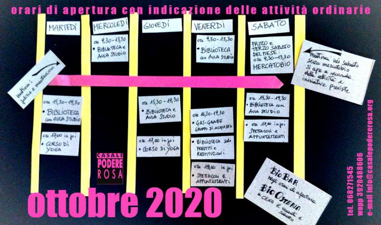Orari e Attività Ottobre 2020 – con precauzioni di buon senso!