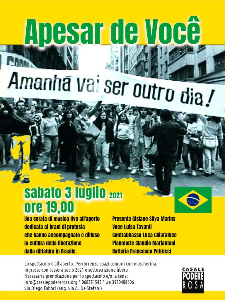 [Apesar de Você: canzoni di protesta (Brasile) sabato 3 luglio 2021]